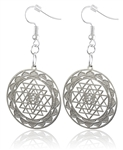 Sri Yantra Cut Out Design Silver Plated Earrings