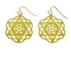 ER-19 Star of David/Seed of Life 18k Gold Plated 30mm Earrings