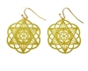 ER-19-25 Star of David/Seed of Life 18k Gold Plated 25mm Earrings