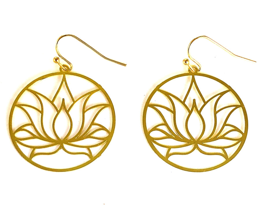 Circular Lotus Flower 18k Gold Plated Earrings