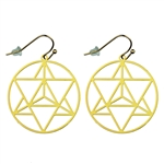 Merkaba Gold Plated 30mm Earrings