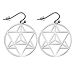 Merkaba Silver Plated 30mm Earrings