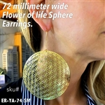 ER-YA-74-SM 72mm Flower of Life Sphere Earrings