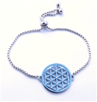 FOLB-S Adjustable Silver Flower of Life Bracelet