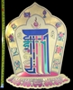 "FS-03 Kalachakra with sacred symbols - gold foil adhesive sticker - 13.5"" in height"