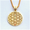 GFOLP-GEM-01 Gold Plated Flower of Life Pendant with Multi-colored Gemstones