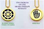 Buddhist Wheel of Life/ Reiki Aroma Therapy Double Sided Pendant