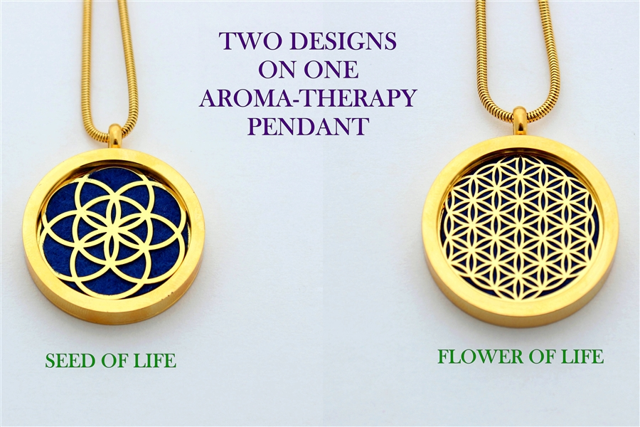 GG-SOL-FOL Seed of Life and Flower of Life Sacred Geometry Aromatherapy  Double Sided Pendant Necklace