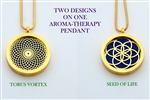 Torus Vortex/ Seed of Life Aroma Therapy Double Sided Pendant