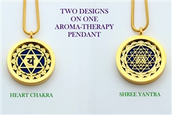 GG-YA-HC Shree Yantra/Heart Chakra Aroma Therapy Double Sided Pendant