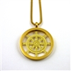 GGBWOLP-33 Gold Plated Stainless Steel Buddhist Wheel Of Life Pendant with Chain