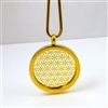 GGFOLP-01 Gold Plated Stainless Steel Flower Of Life Pendant with Chain