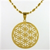 flower of life pendant gold plated stainless steel