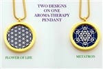 Flower of Life/ Metatron Aroma Therapy Double Sided Pendant