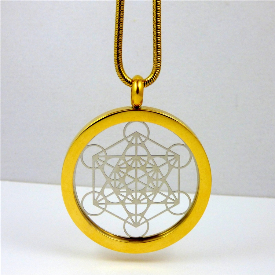 Gold plated stainless steel flower of life pendant with chain gsmetp 12 gold plated stainless steel metatron pendant with chain aloadofball Gallery