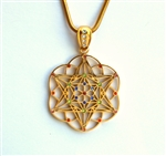 GTP-Gem-01 Gold Plated Star Tetrahedron Pendant with Multi-colored Gemstones