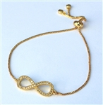 IB-01-G Adjustable Gold cubic zirconia Infinity Bracelet