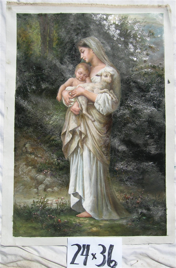 mother mary with baby jesus original oil painting