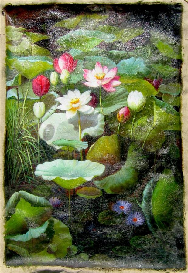 Lotus flowers 24 x 36 original oil painting mightylinksfo