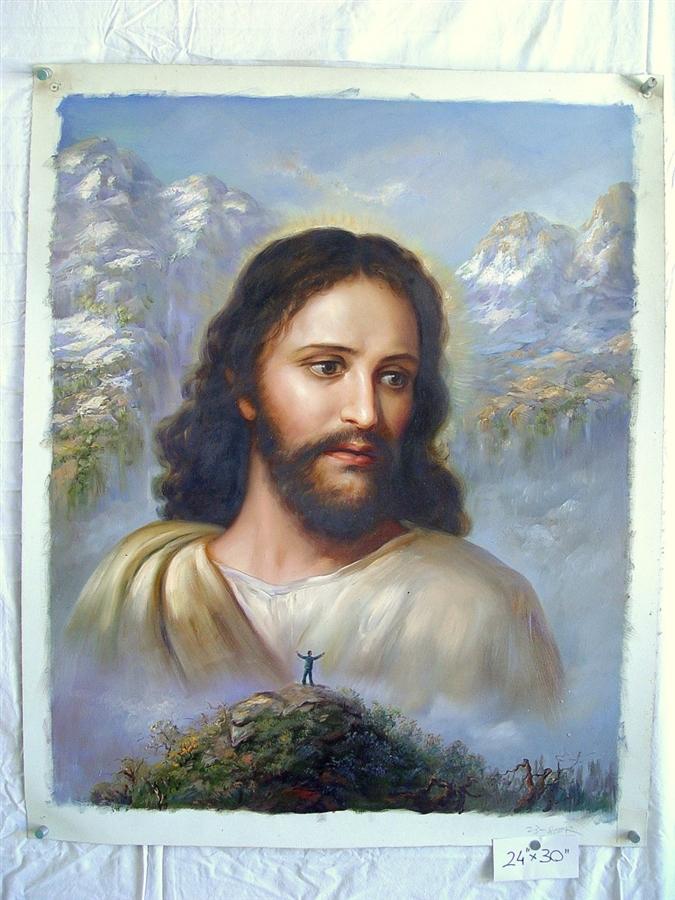 Jesus Christ With Mountain Top Original Oil Painting