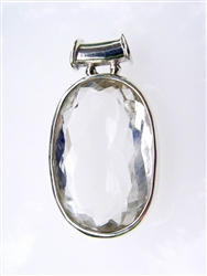 HAND MADE GEM QUALITY CLEAR QUARTZ PENDANT IN STERLING SILVER