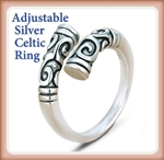 R-SCELT Adjustable Silver Celtic Ring