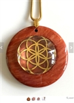 Red Jasper Sacred Geometry Stone Pendants