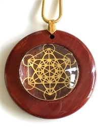 RJDP-GMET Red Jasper Glass Dome Stone Pendants - Gold Plated Metatron