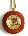 RJDP-GOM Red Jasper Glass Dome Stone Pendants - Gold Plated Om Mandala