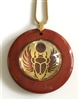 RJDP-GSCB Red Jasper Glass Dome Stone Pendants - Gold Plated Scarab