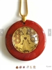 RJDP-GYOG Red Jasper Glass Dome Stone Pendants - Gold Plated Yoga