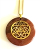 RJP-GST/SSOL  Red Jasper Sacred Geometry Gold Star Tetrahedra with Silver Seed of Life Stone Pendant