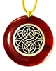 RJP-SCK  Red Jasper Sacred Geometry Silver Plated White Pewter Celtic Knot Pendant