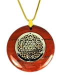 RJP-SMC/GTOR   Red Jasper Sacred Geometry Silver Metatron's Cube with Gold Torus Vortex Stone Pendant