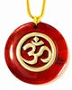 RJP-SOM  Red Jasper Sacred Geometry Silver Plated White Pewter Om Pendant