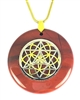 RJP-SST/GSOL   Red Jasper Sacred Geometry Silver Star Tetrahedra with Gold Seed of Life Stone Pendant
