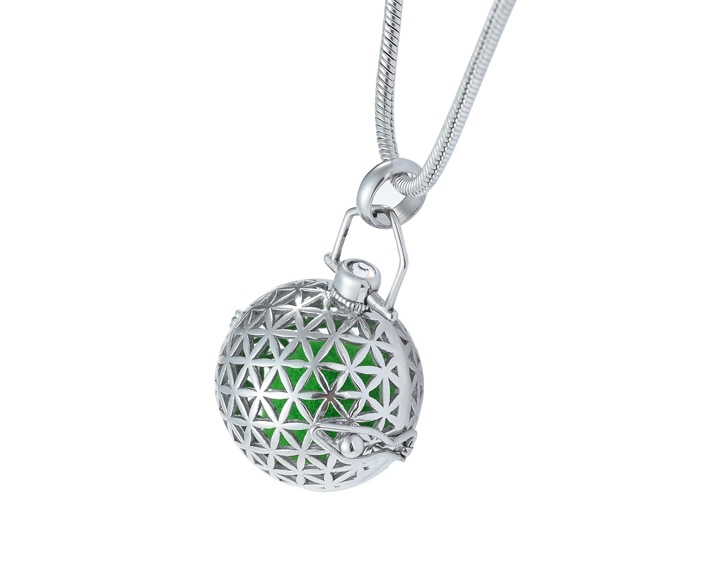 S-FOL-B01 Silver Flower of Life Sacred Geometry Aromatherapy Ball Necklace