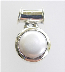 Genuine unbleached 10 mm white pearl pendant in Sterling Silver