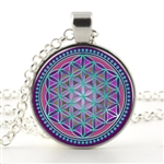 flower of life pendant with magenta, teal, and dark blue