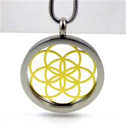 SGSOLP-23 Silver and Gold Plated Stainless Steel Seed Of Life Pendant with Chain