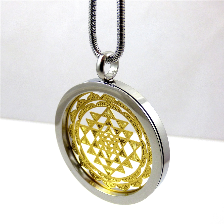 Silver and gold plated stainless steel shree yantra pendant with chain retail aloadofball Image collections