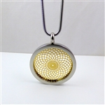 SGTVP-24 Silver and Gold Plated Stainless Steel Torus Vortex Pendant with Chain