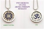 SS-YA-OM Shree Yantra/OM Aroma Therapy Double Sided Pendant