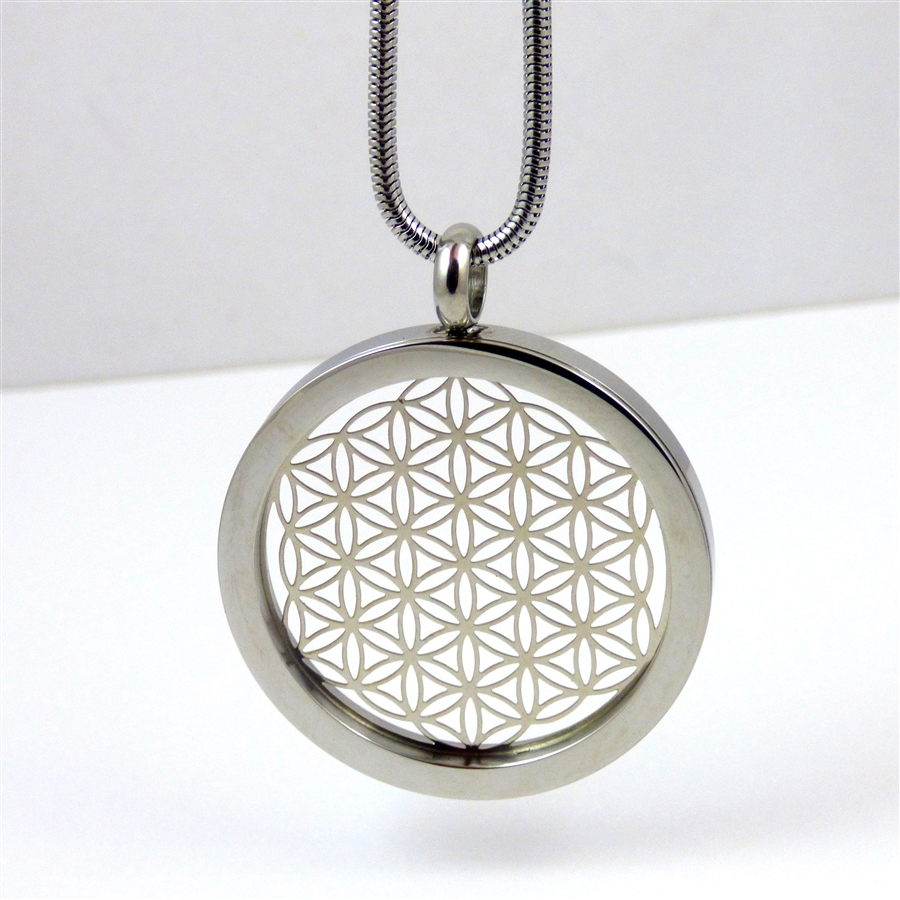 Silver plated stainless steel flower of life pendant with chain ssfolp 16 silver plated stainless steel flower of life pendant with chain mozeypictures Gallery