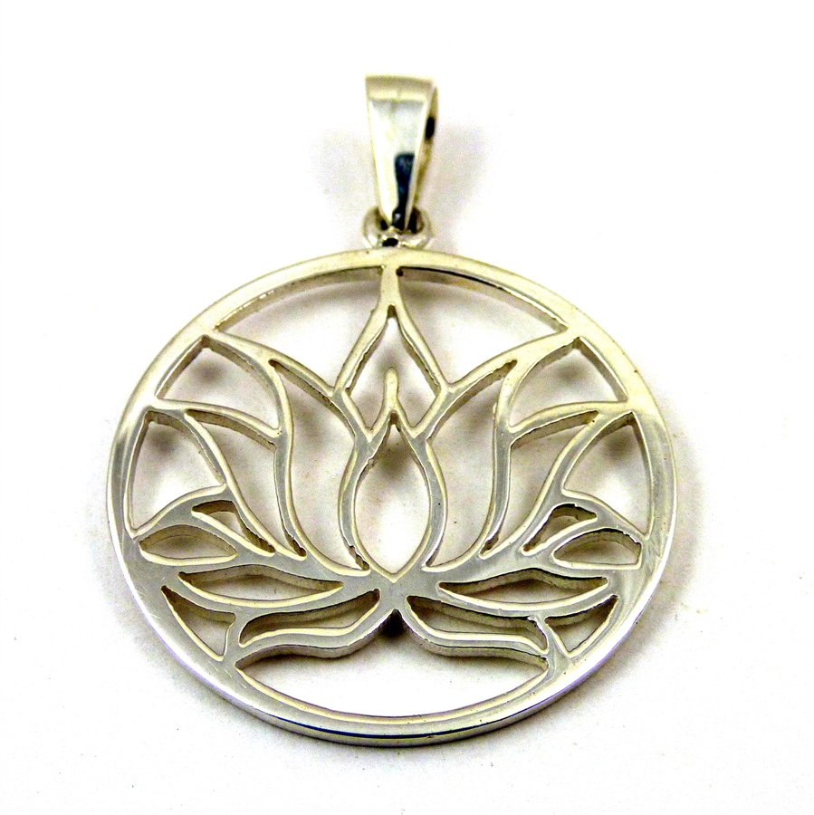 Lotus Flower Pendant Sterling Silver