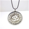 "SSOMP-19 Silver Plated Stainless Steel ""OM""Pendant with Chain"
