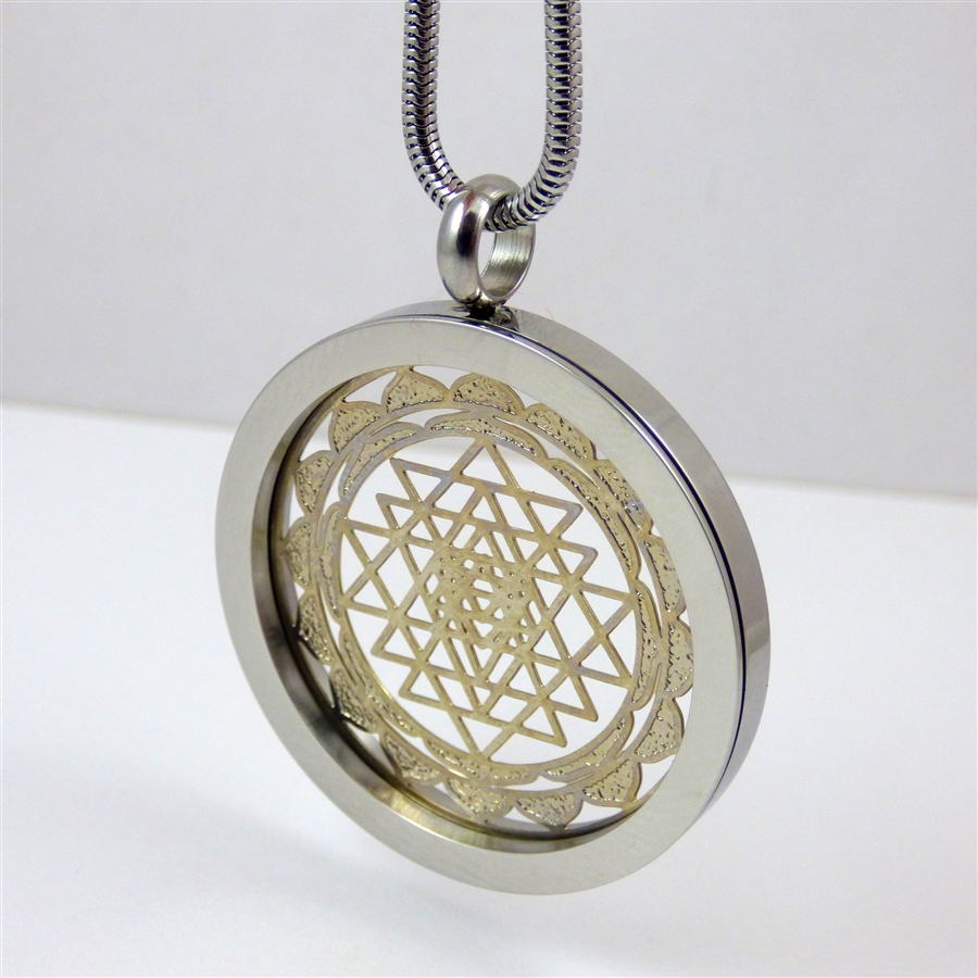 Silver plated stainless steel shree yantra pendant with chain sssyp 20 silver plated stainless steel shree yantra pendant with chain aloadofball Choice Image