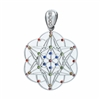 SStTP-Gem-01 Silver Star Tetrahedron Pendant with Multi-colored Gemstones