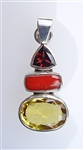 hessonite garnet, red coral, and citrine pendant