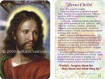 Devotional pocket sized card of Jesus with a brief summary of his life on the back.